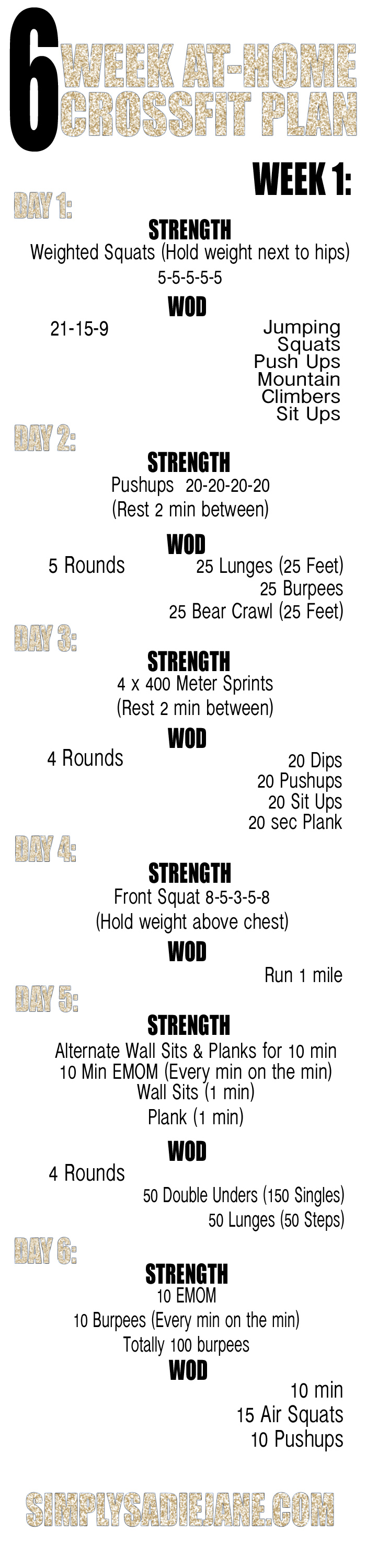 6 WEEK AT HOME CROSSFIT INSPIRED WORKOUTS 1