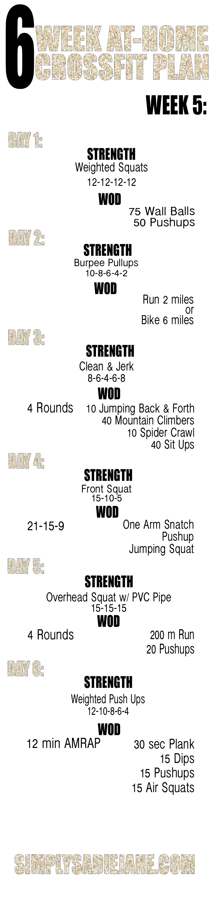 WEEK 5: 6 WEEK AT-HOME WORKOUTS! {Fitness}