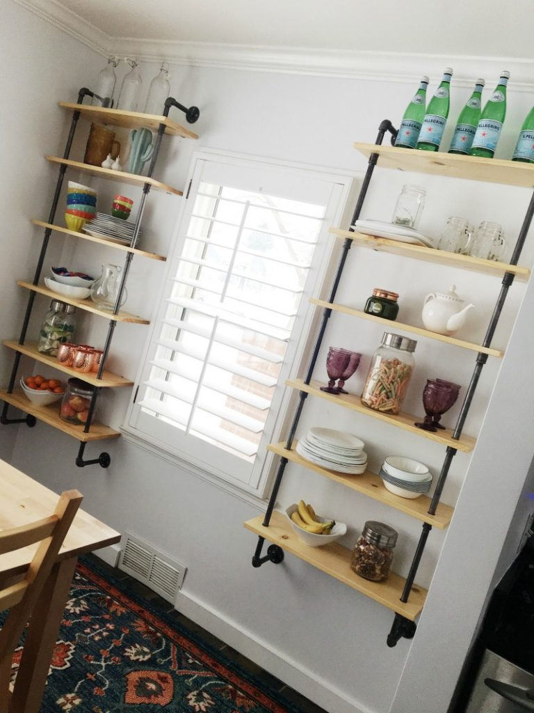 Dining Room Pipe Shelving Tutorial